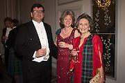 OLLIE FINDLAY; CAROLINE FINDLAY; BUMBLE FINDLAY; , The Royal Caledonian Ball 2016. Grosvenor House. Park Lane, London. 29 April 2016