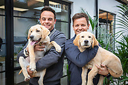 """EMBARGOED IMAGE - AVAILABLE FOR PUBLICATION FROM 00.01 on Thursday 17th October; 2019.<br /> ##Editorial free to use photo##<br /> <br /> Ant and Dec cuddle guide dog puppies Ant and Dec:<br /> <br /> To mark this year's Guide Dogs Appeal, Pups to Partnerships, Ant and Dec have had two guide dog pups named after them, an adorable Yellow Labrador puppy has been named after Ant while the playful Golden Retriever has been named after Dec. Ant and Dec are supporting this year's Guide Dogs Appeal which follows the progress of a group of seven puppies. Throughout October, the charity is sharing the journey of the puppies as they progress to become life-changing guide dogs.  <br />  <br /> Speaking of the partnership, Ant says: """"We're so proud to be part of the Pups to Partnerships campaign; not only do we get to meet these adorable puppies but we also get to hear about the great work that Guide Dogs does."""" Dec adds: """"These puppies will go on to change lives and give two people living with sight loss the independence and freedom we take for granted; we can't wait to see how these puppies progress."""" <br />  <br /> The Guide Dogs Pups to Partnerships Appeal is taking place from the 1st to the 31st October 2019. For more information on how to get involved, visit: www.guidedogs.org.uk/appeal<br /> <br /> Picture date: Tuesday October 15; 2019.<br /> Photograph by Christopher Ison for Guide Dogs ©<br /> 07544044177<br /> chris@christopherison.com<br /> www.christopherison.com"""