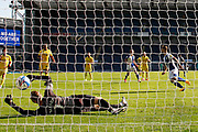 Goal 1-0 Blackburn Rovers forward Adam Armstrong (7) wheels away to celebrate scoring from the penalty spot 1-0 during the EFL Sky Bet Championship match between Blackburn Rovers and Wycombe Wanderers at Ewood Park, Blackburn, England on 19 September 2020.