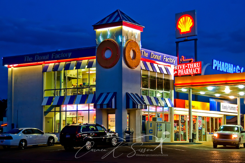 The Donut Factory is pictured at night in Columbus, Miss. April 20, 2010. Shoppers can fill a precription, drop off dry cleaning, fuel up, and purchase fresh-baked doughnuts at the one-stop shop. (Photo by Carmen K. Sisson/Cloudybright)