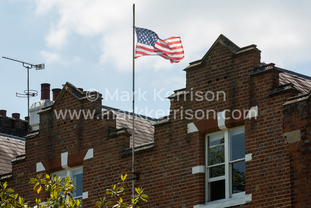 A US flag flies between two residential houses close to Windsor Castle on the occasion of the visit following the G7 summit in Cornwall of President Biden on 13th June 2021 in Windsor, United Kingdom. President Biden and First Lady Jill Biden were welcomed at Windsor Castle by the Queen with a Guard of Honour followed by afternoon tea.