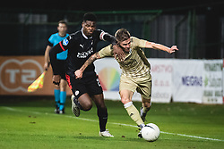 Luka Bobičanec of Mura and Denzel Dumfries of PSV Eindhoven  during football match between NS Mura and PSV Eindhoven in Third Round of UEFA Europa League Qualifications, on September 24, 2020 in Stadium Fazanerija, Murska Sobota, Slovenia. Photo by Blaz Weindorfer / Sportida