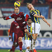 Fenerbahce's Dirk Kuijt (R) during their Turkish SuperLeague Derby match Trabzonspor between Fenerbahce at the Avni Aker Stadium at Trabzon Turkey on Sunday, 17 February 2013. Photo by TURKPIX