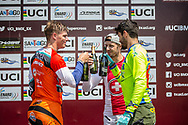 Overall World Cup positions: 2nd, #593 (CAMPO Alfredo) ECU; 1st #313 (KIMMANN Niek) NED; 3rd, #7 (GRAF David) SUI at Round 10 of the 2019 UCI BMX Supercross World Cup in Santiago del Estero, Argentina