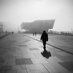 Foggy Liverpool Waterfront.