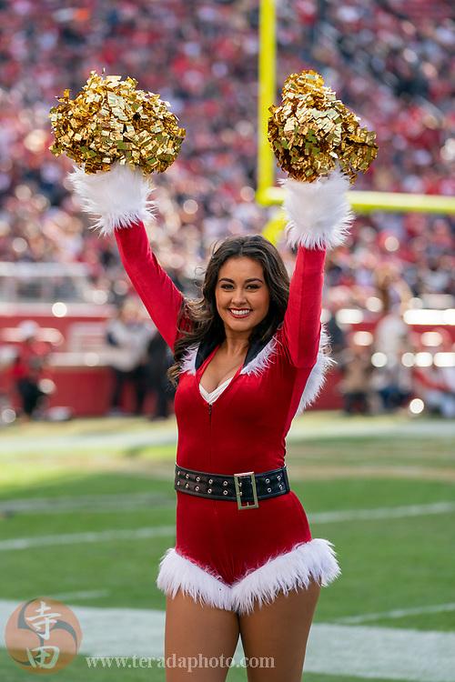 December 23, 2018; Santa Clara, CA, USA; San Francisco 49ers Gold Rush cheerleader Jordan during the third quarter against the Chicago Bears at Levi's Stadium.
