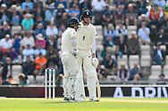 Sam Curran of England and Stuart Broad of England during the first day of the 4th SpecSavers International Test Match 2018 match between England and India at the Ageas Bowl, Southampton, United Kingdom on 30 August 2018.