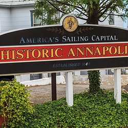Annapolis, MD, USA - May 20, 2012: Historic Annapolis Americas Sailing Capital Sign.