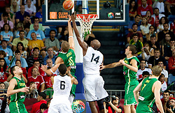 RobertasJavtokas of Lithuania vs Lamar Odom of USA during the first semifinal basketball match between National teams of USA and Lithuania at 2010 FIBA World Championships on September 11, 2010 at the Sinan Erdem Dome in Istanbul, Turkey.   (Photo By Vid Ponikvar / Sportida.com)