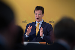 © London News Pictures. 03/04/15. London, UK. Deputy Prime Minister Nick Clegg and Chair of the Liberal Democrats Manifesto Group David Laws present how the Liberal Democrats manifesto plans will be funded, Westminster, Central London. Photo credit: Laura Lean/LNP