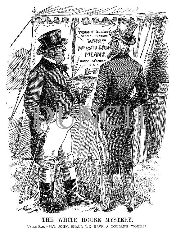 """The White House Mystery. Uncle Sam. """"Say, John, shall we have a dollar's worth?"""" (John Bull and Uncle Sam read a sign Thought Reading - Special Feature - What Mr Wilson Means - Daily Seances 10 To 9 while at a fairground during WW1)"""
