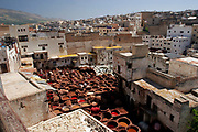 A rooftop view over the tanneries in Fes, Morocco on Thursday morning, May 31, 2007. The tanneries are perhaps the strongest icon of this medeival city. (PHOTO BY TIMOTHY  D. BURDICK)