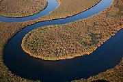 An aerial view of the Okavango River in the Okavango Delta, Botswana