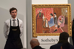 """© Licensed to London News Pictures. 03/03/2016. London, UK.  Henri Matisse's """"La Leçon de piano"""" (sold for a hammer price of £9.5m), at Sotheby's Impressionist, Modern & Surrealist art evening sales in New Bond Street.  The combined total of the sale was forecast to realise between £97-138m. Photo credit : Stephen Chung/LNP"""