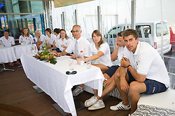 Miran Kos, Sara Isakovic, Emil Tahirovic and Damir Dugonjic at press conference of Slovenian swimmers before World Championships in Rome, on July 23 2009, in Kranj, Slovenia. (Photo by Vid Ponikvar / Sportida)