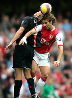Photo: Tom Dulat/Sportsbeat Images.<br /> <br /> Arsenal v Manchester United. The FA Barclays Premiership. 03/11/2007.<br /> <br /> Mathieu Flamini of Arsenal and Wes Brown of Manchester United head for the ball.