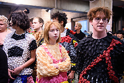 Models prepare backstage during the MAN London Fashion Week Men's AW18 show, held at the Old Selfridge's Hotel, London. Picture date: Sunday January 7th, 2018. Photo credit should read: Matt Crossick/ EMPICS Entertainment.