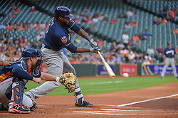 March 26, 2018 - Houston, TX, U.S. - HOUSTON, TX - MARCH 26: Milwaukee Brewers outfielder Lorenzo Cain (6) makes good contact during the game between the Milwaukee Brewers and Houston Astros at Minute Maid Park on March 26, 2018 in Houston, Texas. (Photo by Ken Murray/Icon Sportswire) (Credit Image: © Ken Murray/Icon SMI via ZUMA Press)
