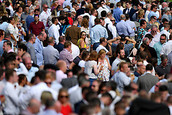 Racegoers look-on during the The Cash Out At Bet365 Handicap Stakes during bet365 Old Newton Cup Day at Haydock Park Racecourse.