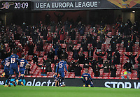 Football - 2020 / 2021 Europa League - Group B - Arsenal vs Rapid Vienna - The Emirates Stadium<br /> <br /> Alexandre Lacazette (9) of Arsenal celebrates scoring goal no 1 in front of the 2000 fans how were allowed in for the match<br /> <br /> COLORSPORT/ANDREW COWIE