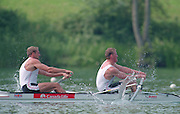 Lucerne, Switzerland. 1995 FISA WC III, Lake Rotsee, Lucerne,<br /> GBR M2-.  Bow. Steve REDGRAVE and Matthew PINSENT. <br /> [Mandatory Credit. Peter SPURRIER/Intersport Images]<br /> <br /> Image scanned from Colour Negative