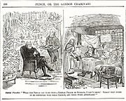 The Garret and the Conservatory':  Cleric with multiple livings cannot think why the poor were not content to go home after Sunday service and spend the rest of the day there. Cartoon  from 'Punch', London, 1852.