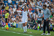 Ali Riley (Capt) (New Zealand) with a throw in during the FIFA Women's World Cup UEFA warm up match between England Women and New Zealand Women at the American Express Community Stadium, Brighton and Hove, England on 1 June 2019.