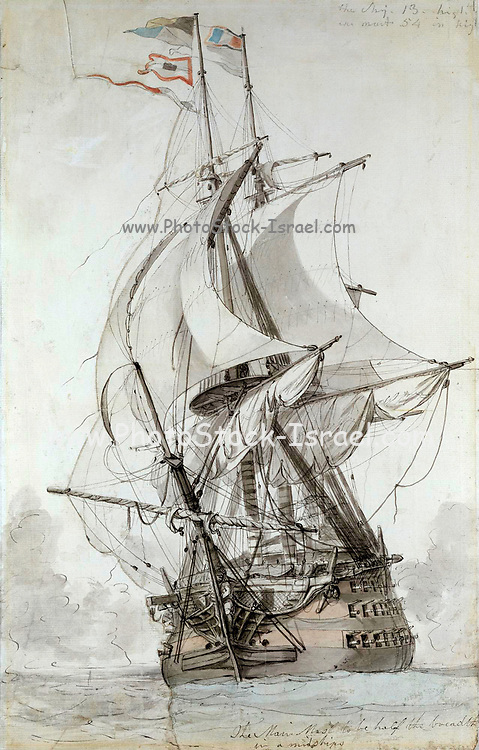 La Montagne tall ship sketch by Philip James de Loutherbourg Water color pen and ink c.1794