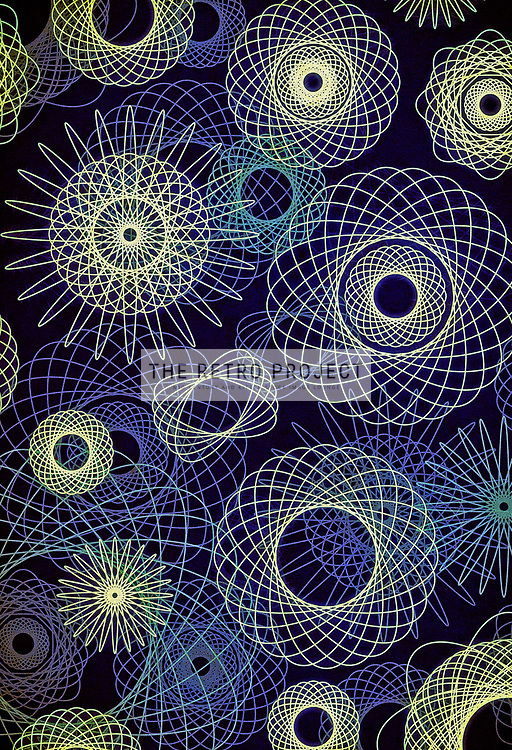 Spiral Graph Retro Geometric Shapes Line Art Illustration in blue with texture overlay