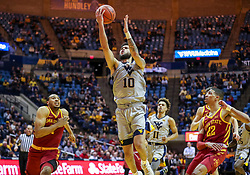Mar 6, 2019; Morgantown, WV, USA; West Virginia Mountaineers guard Jermaine Haley (10) shoots during the second half against the Iowa State Cyclones at WVU Coliseum. Mandatory Credit: Ben Queen-USA TODAY Sports
