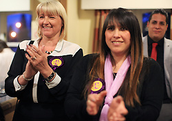 © Licensed to London News Pictures. London, UK. 14/05/2014. London, UK. UKIP supporters applaud Gerard Batten MEP's speech in a public meeting with UKIP Barking & Dagenham candidates for next week's local elections (22/05/2014). Mr Batten was victim of a vandalism act last night at his home in Forest Gate, east London, when a brick smashed a window in his living room.Photo credit: LNP
