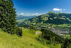 THEMENBILD - Der Blick von der Alten Schneise auf die Stadt Kitzbühel und das Kitzbüheler Horn, aufgenommen am 26. Juni 2017, Kitzbühel, Österreich // The view from the Alten Schneise to the town of Kitzbühel and the Kitzbüheler Horn at the Streif, Kitzbühel, Austria on 2017/06/26. EXPA Pictures © 2017, PhotoCredit: EXPA/ Stefan Adelsberger