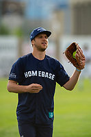 KELOWNA, CANADA - JUNE 28: 2019 Stanley Cup Champion Brayden Schenn of the St. Louis Blues catches the ball during the opening charity game of the Home Base Slo-Pitch Tournament fundraiser for the Kelowna General Hospital Foundation JoeAnna's House on June 28, 2019 at Elk's Stadium in Kelowna, British Columbia, Canada.  (Photo by Marissa Baecker/Shoot the Breeze)