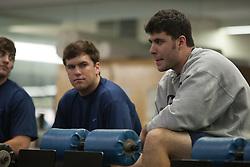 27 November 2007: North Carolina Tar Heels men's lacrosse Chris Cortina during a weight lifting session in Chapel Hill, NC.