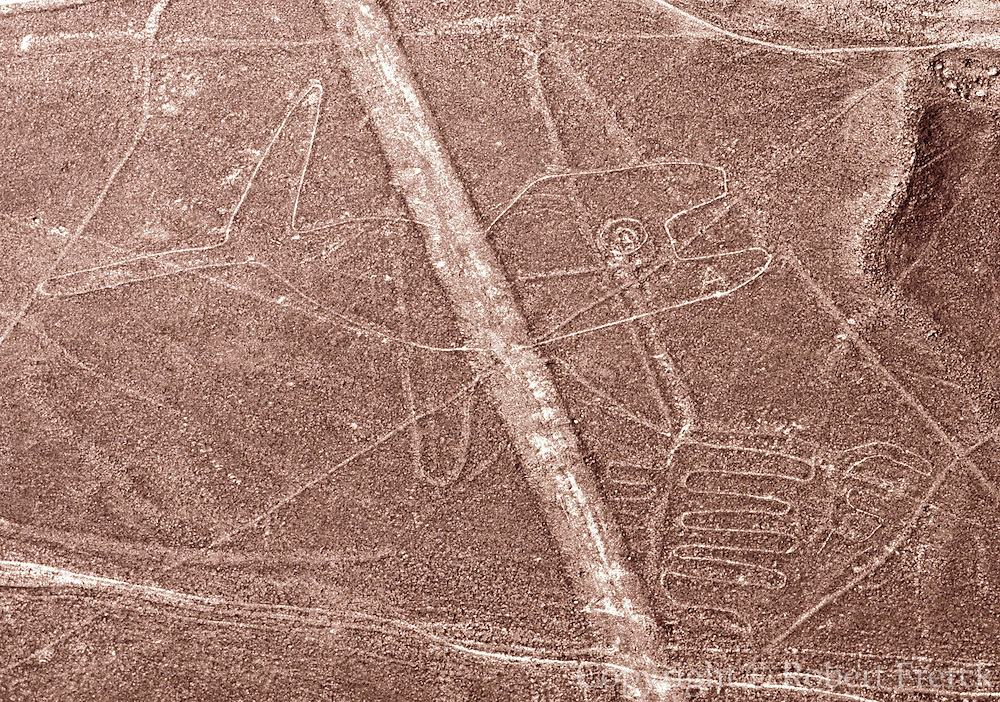 PERU, NAZCA CULTURE Nazca lines, 200AD-800AD; huge drawings in the desert on the south coast of Peru; aerial view of giant whale