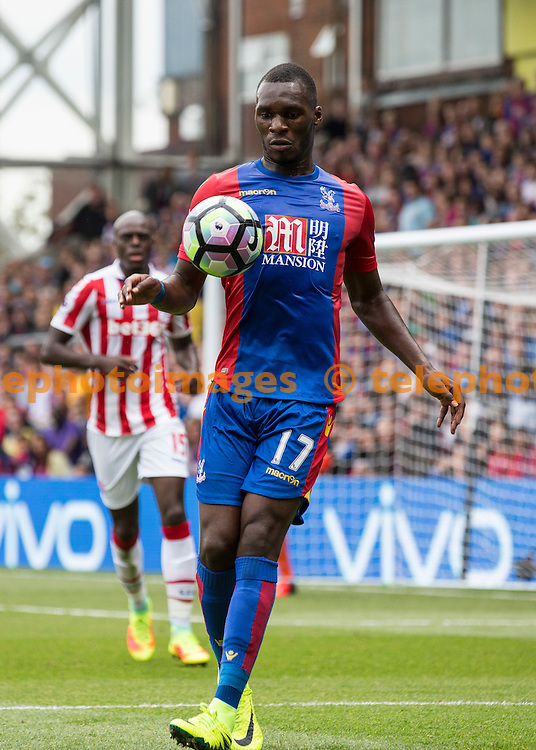 Christian Benteke controls the ball during the Premier League match between Crystal Palace and Stoke City at Selhurst Park in London. September 18, 2016.<br /> Jack Beard / Telephoto Images<br /> +44 7967 642437