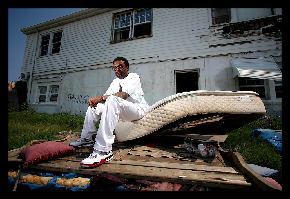 22 July 2006 - New Orleans - Louisiana. Spike Lee. <br />Movie director Spike Lee revisits the shattered Lower 9th ward   prior to the release of his HBO movie 'When the Levees Broke.'