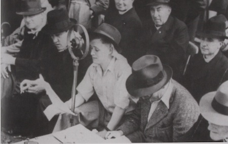 The voice of the GAA for decades Michael O'Hehir at the 1940 Munster Final. On the left with the handkerchief around his kneck is his father Jim, who trained Clare to win the 1914 All Ireland Final. Next is Fr Morrissey, parish priest of Boherlahan. On the right is his assistant Tommy O'Reilly, while on the extreme right is his uncle Hugh.