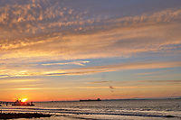 Sunrise Panorama over the Tagus River in Lisbon. Two of eight images taken with a Leica CL camera and 23 mm f/2 lens (ISO 200, 23 mm, f/8, 1/60 sec). Raw images processed with Capture One Pro and AutoPano Giga.