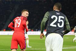 Englands Jamie Vardy has words with Germanys Jonathan Tah - Mandatory by-line: Matt McNulty/JMP - 26/03/2016 - FOOTBALL - Olympiastadion - Berlin, Germany - Germany v England - International Friendly