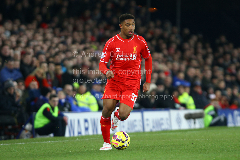 Jordon Ibe of Liverpool in action. Barclays Premier league match, Everton v Liverpool at Goodison Park in Liverpool, Merseyside on Saturday 7th February 2015<br /> pic by Chris Stading, Andrew Orchard sports photography.