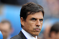 Chris Coleman, the manager of Wales looks on from the dugout.   Euro 2016, group B , England v Wales at Stade Bollaert -Delelis  in Lens, France on Thursday 16th June 2016, pic by  Andrew Orchard, Andrew Orchard sports photography.