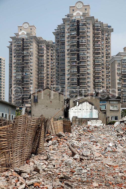 A view of a demolished old neighborhood in Shanghai, China on August 28th, 2009. China's urbanization will rapidly accelerate, with 300 million people from rural areas expected to move to cites within 20 years, a senior official said.
