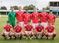 RHYL, WALES - Saturday, September 2, 2017: Wales line up  before the Under-19 international friendly match between Wales and Iceland at Belle Vue. (Pic by Gavin Trafford/Propaganda)
