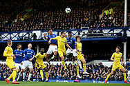 Everton forward Dominic Calvert-Lewin (29) gets up high to meet the corner during the Premier League match between Everton and Chelsea at Goodison Park, Liverpool, England on 17 March 2019.