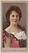 Actress wearing pink bodice with white ruffles, from the Actresses series issued by Sweet Caporal Cigarettes