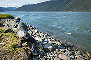 With tidewater Dean Channel as a back drop, David Page finds fresh cinook while fishing a river mouth in BC's Coast Mountains.