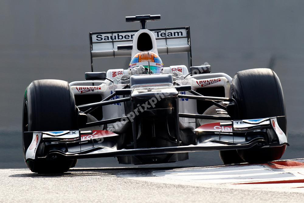 Esteban Gutierrez (Sauber-Ferrari) during the 2012 Young Driver test in November at the Yas Marina Circuit. Photo: Grand Prix Photo