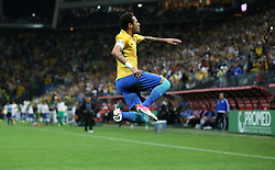 SAO PAULO, March 29, 2017  Neymar of Brazil celebrates his goal during the 2018 FIFA World Cup qualifiers round match against Paraguay at the Arena Corinthians in Sao Paulo, Brazil, on March 28, 2017. Brazil won 3-0. (Credit Image: © Li Ming/Xinhua via ZUMA Wire)