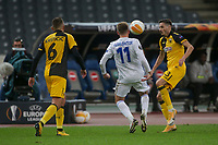 ATHENS, GREECE - OCTOBER 29: Marc Albrightonof Leicester City fights with Hélder Lopesof AEK Athens in front of Nenad Krstičićof AEK Athens during the UEFA Europa League Group G stage match between AEK Athens and Leicester City at Athens Olympic Stadium on October 29, 2020 in Athens, Greece. (Photo by MB Media)